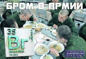 Добавляют ли бром в напитки и еду в армии. Правда, что в армии солдатам добавляют бром в еду, чтобы к женщинам не тянуло