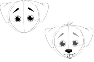 Как нарисовать мультяшных собак щенков. Как нарисовать собачью морду